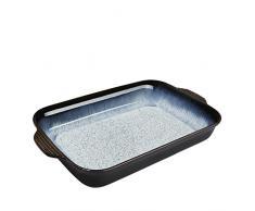 Denby Halo - Fuente rectangular tamaño grande (1,7 L), color negro y gris