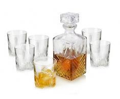 Bormioli Juego de vasos de cristal de 280 ml para whisky con botella de 1 litro y tapón de cristal