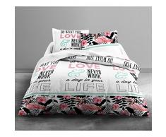 Today 013082Funda de edredón Enjoy Love Flamingo 220x 240cm con 2Fundas de Almohada 63x 63cm algodón Blanco/Negro/Rosa