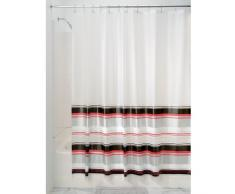 InterDesign Maxwell - Cortina para ducha, 180 x 200 cm, Negro/Rojo/Plata