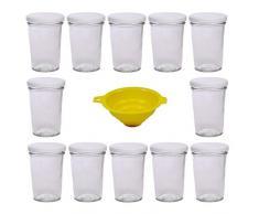 Viva Haushaltswaren - Tarros de Cristal para Mermelada de tamaño Mini (12 Unidades Capacidad de 150 ml Incluye Tapa de Color Blanco y Embudo de Color Amarillo)