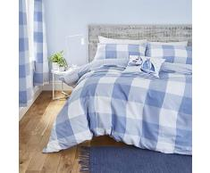 Catherine Lansfield Boston Check Nórdica + Funda de Almohada Cama 150 cm, Cotton, Azul, 240 x 220 + 2/ 50x85 cm, 3