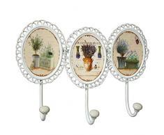 DRW Perchero Pared Hierro Ovalado Estilo Vintage de 3 Ganchos Acabado en Color Blanco decape con Motivos de Flores .Medidas 25 * 34cm