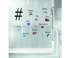 Spirella 180 x 200, Negro colección Hashtag, Cortina de Ducha Textil, 100% Polyester, PEVA
