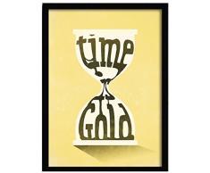 LO+DEMODA HCN2138-87 - Cuadro con marco, diseño Time is gold, 33 x 43 cm, multicolor