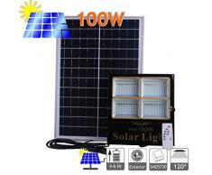 Proyector Led Solar Orientable Con Panel Solar Separado, 100W, 1920 Lúmenes. Protección Ip65 Exterior