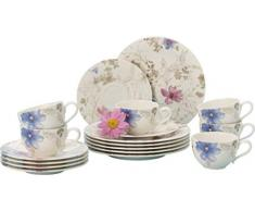 Villeroy & Boch Mariefleur Gris Vajilla de café para 6 personas, 18 piezas, Porcelana Premium, Blanco/Azul/Gris