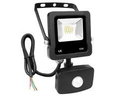 LE Foco Proyector Led exterior con Detección de Movimiento, 10W, 800lm IP65, Luces Sensible para garajes, parking, entrada, jardines, puertas etc.