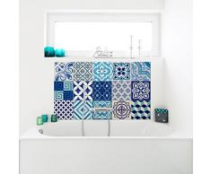 Ambiance-Live 15 Stickers Adhesivos carrelages | Adhesivo Adhesivo Azulejos - Mosaico Azulejos de Pared de baño y Cocina | Azulejos Adhesiva - Azulejos Azules - 10 x 10 cm - 15pièces