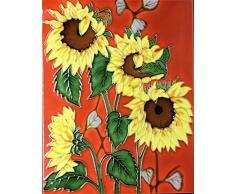 YH-Arts Full Bloom Azulejos de cerámica, Multicolor, 28 x 35,5 cm