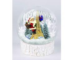 Navidad en París, Lote de 10 Bolas Luminosas sobre Base decoración Navidad París, 8 cm.