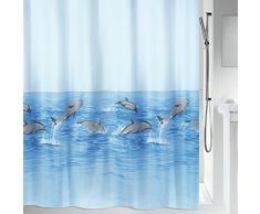 Spirella 10.02941 Nemo Acqua - Cortina de ducha de tela (180 x 200 cm, poliéster), color azul con diseño de delfines