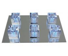 Näve Leuchten 1056242 - Lámpara de techo halógena (60 cm de largo, 40 cm de ancho, 15 cm de alto, espejo), transparente