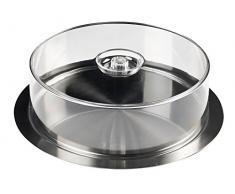 INOXIBAR Bandeja de Catering Circular con Tapa Transparente, 35 cm, Metal, Inoxidable, Centimeters