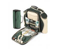 Greenfield Collection Deluxe - Mochila y manta de picnic para dos personas, color verde bosque