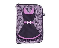 VIGAR Lulu Joyero de Viaje, Material: Tela Estampada Polyester. Banda Interior Acolchada: Poliamida. Bolsillos: PVC Transparente, Rosa/Negro, 19.5 x 2.5 x 28.50 cm