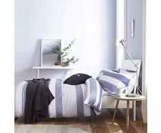 Catherine Lansfield Newquay - Juego de Funda de edredón para Cama Individual, diseño de Rayas, algodón poliéster, Azul, King Duvet Set