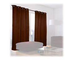 Relaxdays Cortinas Opacas con Ojales, Pack de 2, Modernas, Dormitorio o Salón, Poliéster, 245 x 135 cm, Marrón Chocolate