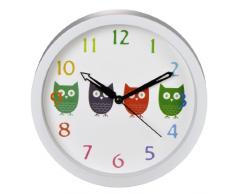 Hama Owls Quartz wall clock Círculo Color blanco - Reloj de pared (AA, Color blanco, De plástico, Vidrio, 40 mm, 295,6 g)