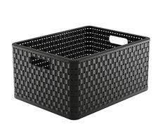 Rotho Dekobox Caja para Guardar Country, Aspecto de ratán de plástico (PP), Volumen Aprox. 28 L, Formato A4 +, Aprox. 43 x 33 x 21,5 cm.