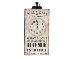 Better & Best 2673010 - Reloj de pared rectangular Welcome Home, color blanco
