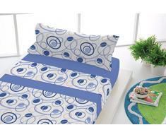 SABANALIA - Juego de sábanas Estampadas Dance (Disponible en Varias Medidas) - Cama 160, Azul