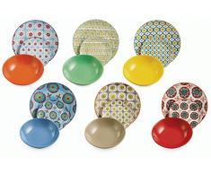 VILLA DESTE Bazar Juego de 18 Platos de Porcelana y Gres, Multicolor