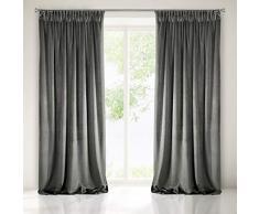 Eurofirany Cortina oscurecedora de Terciopelo, Cinta fruncidora, Elegante, Glamour para Dormitorio, salón, salón, 140 x 270 cm