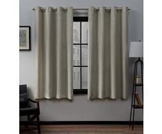Home Exclusive Exclusiva casa Cortinas loha Lino Ojal metálico en la Parte Superior Ventana Cortina Panel par, Natural, 52x 63