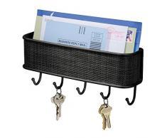 InterDesign Twillo Organizador de llaves de pared con bandeja para cartas, ganchos para la pared del pasillo de metal y plástico, negro mate