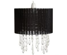 Loxton Lighting – Lámpara de techo con pantalla para lámpara con efecto de cristal con perlas, acrílico, negro