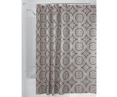 InterDesign Medallion Cortina de baño textil | Cortina para baño de 180 cm x 200 cm para bañera y plato de ducha | Cortina de ducha con borde superior reforzado | Poliéster beis