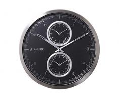 Karlsson Multiple Time - Reloj de pared, aluminio, color negro