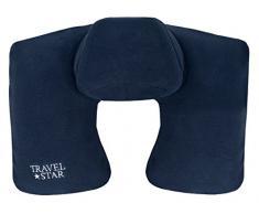 Travel Star Cojín Cervical Hinchable con reposacabezas Almohada Cervical, poliéster, Azul, 35 x 25 x 13 cm