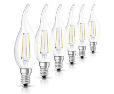 Osram Retrofit Cl Bombilla LED E14, 2 W, Blanco, 6er Pack, 6 Unidades