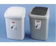 CURVER 03984-856-00 - Papelera con Tapa basculante (10 L), Color Gris, plástico, Plateado/Negro, 10 L