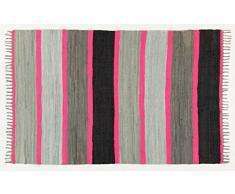 ABC Tappeti Alfombra Neon Fleckerl Gris/Negro/Fucsia 120 x 180 cm
