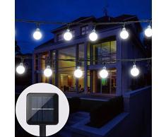 Cadena de luces solares Baoant para jardín, exteriores con boldas de LED, 6 m, 30 luces LED, 2 modos, luz blanca fría, impermeable, iluminación para Navidad