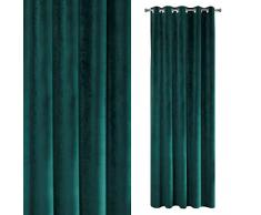 Eurofirany Velvet - Cortina de Terciopelo, Color Turquesa Jade Liso con 10 Ojales metálicos 290 g/m2 140 x 250 cm, 1 Unidad Mullido, Suave, Moderno, clásico, para salón, Dormitorio