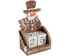 WeRChristmas – Figura de muñeco de Nieve decoración de Navidad Calendario de Adviento, Madera, 16 cm