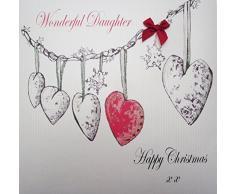 White Cotton Cards Code xex654Â Gran Navidad Guirnalda Maravillosa Hija Feliz Navidad Tarjeta de Navidad Hecha a Mano