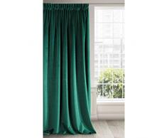 Eurofirany - Cortina Opaca de Terciopelo, Color Verde Oscuro, Suave Cinta fruncidora, Elegante, Glamour, Dormitorio, salón, Verde Oscuro, 140 x 270 cm