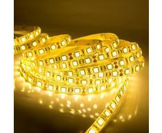 quntis® Agua Densidad LED Cinta 5 M Blanco Cálido 5050 SMD alta densidad 300 LED Tiras Luz Cadena Botones + Fuente (12 V 6 A) con enchufe UE, IP 65