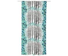 Vallila lehtisade cortina, algodón, turquesa, 140 x 250 cm
