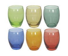 Tognana N3585D70032 Tulip Multicolor CC 400 - Juego de 6 vasos de cristal