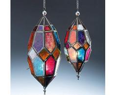 Klass Home Collection - Pantalla de Cristal para lámpara de Techo (Estilo marroquí, tamaño Grande, Vintage, para decoración de Interiores, Hierro), Multicolor