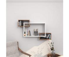 Theta Design by homemania Estante, Estante Davis, Blanco/wengué