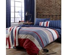 Catherine Lansfield Stars & Stripes - Funda nórdica y funda de almohada cama, 220 x 220 cm, color azul