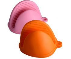 EXQULEG - 2 Pares de Manoplas de Silicona para Horno, Guantes para Barbacoa, Resistentes al Calor, antical (Naranja y Rosa), Clavos de Silicona 9,5 x 14 x 8 cm 2
