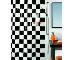 Spirella colección Matto, Cortina de Ducha Textil 180 x 200, 100% Polyester, Negro, PVC, Blanco, 180 x 200cm